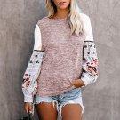 Pink Contrast Printed Sleeve Knit Sweatshirts