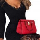 Black Eyelash Lace Overlay Long Sleeve Bodycon Dress