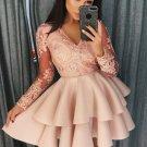 Apricot Sequin Embroidered Multilayer Skater Dress