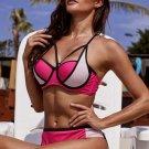 Rose Color Block Strappy Bikini Swimsuit