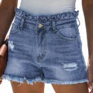 Sky Blue High Rise Ruffle Waist Denim Shorts