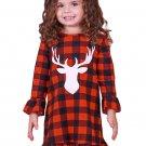 New Girls Reindeer Graphic Plaid Ruffled Christmas Dress