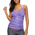 Purple Padded Wide Strap Printed Tankini Swimsuit