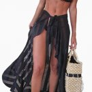 Black Sheer Wrap Sarong Maxi Beach Skirt
