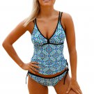 Light Blue Marine Artascope Push Up Tankini Swimsuit
