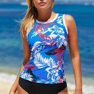 Blue Ethnic Print High Neck Strappy Tankini
