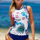 White Floral Print High Neck Strappy Tankini