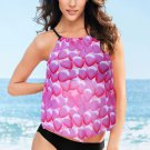 Rose Mesh Petal Print Top Tankini Swimsuit