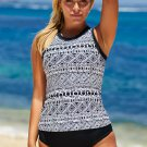 Black Ethnic Print High Neck Strappy Tankini