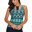 Green Tribal Print Lace Halter Accent Tankini Top