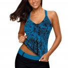 Swim Tops Blue Floral Printed Blouson Tankini Top