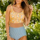 Floral Print Shoulder Tie Tankini Swimsuit