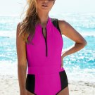 Rose Color Block Zipped Closure One-piece Swimwear