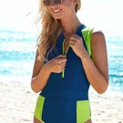 Blue Color Block Zipped Closure One-piece Swimwear