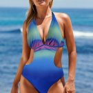 Green Ombre Color Block Halter Monokini