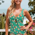 Green Abstract Print Top Knot One Piece Swimsuit