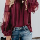 Red Fashion Lantern Sleeve Lace Patchwork Top