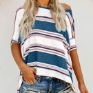 Blue White Pink Color Striped Print Loose Shirt