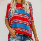 Red Blue White Color Striped Print Loose Shirt