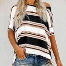 Black White Khaki Color Striped Print Loose Shirt