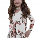 White Floral Key Hole Front Girl's Long Sleeve Top