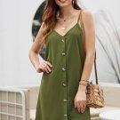 Mini Dresses Green Buttoned Slip Dress