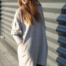 Gray Autumn Winter Long Lantern Sleeve Knitted Sweatshirt Dress