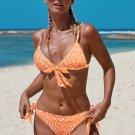 Orange Bohemian Print Knot Bikini Swimsuit