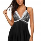 Black Retro Polka Dot Print Handkerchief Hem Tankini Set