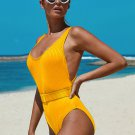 Yellow Ribbed One-piece Swimsuit with Belt