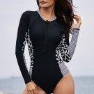 Rash Guards Mottled Splice Long Sleeve Zip Front One Piece Swimsuit