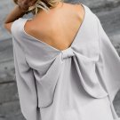 Gray V-Neck Bowknot Three-Quarter Sleeve Blouse