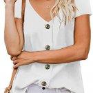 White Button Detail Short Sleeve V Neck Blouse