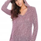Burgundy Hooded V-Neck Long Sleeve Loose Knitted Top
