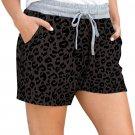 Gray Leopard Print Drawstring Waist Shorts