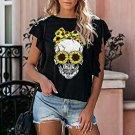 Steer Skull Print Short Sleeve T-shirt
