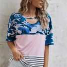 Camo Pink Striped Patchwork Tee