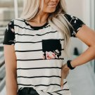 Black Striped T-shirt with Patch Pocket