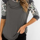 Gray Printed Raglan Sleeve Top