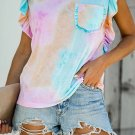 Multicolor Tie-dye Ruffled Cap Sleeve T-shirt