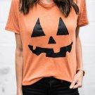 Short Sleeve Pumpkin Pattern Orange T-shirt
