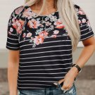 Black Spring Vibe Floral and Stripe Tee