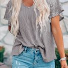 Gray Sequined Splicing T-shirt