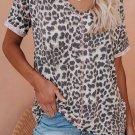 V Neck Leopard Print T-shirt