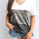 V Neck Colorblock Camo Print Splicing T-shirt