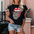 Lip Leopard Print Short Sleeve T-shirt