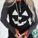 Double Hood Halloween Pumpkin Face Sweatshirt