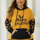 Banded Long Sleeve Kangaroo Pocket Halloween Plus Size Hoodie