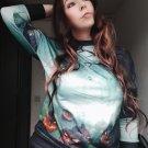 Green Halloween Element Print Sweatshirt