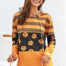 Stripes and Halloween Pumpkin Print Hoodie